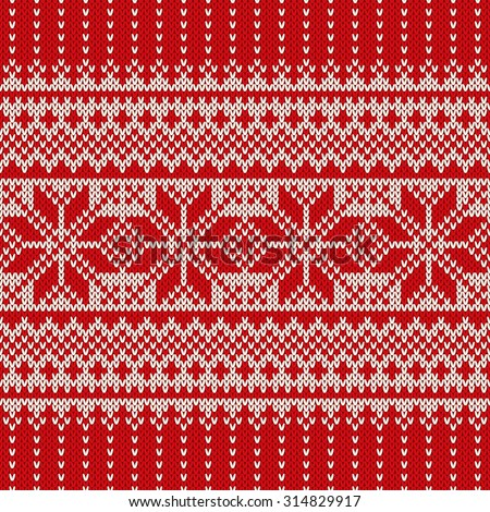 Christmas Sweater Design. Seamless Holiday Knitted Pattern - stock vector