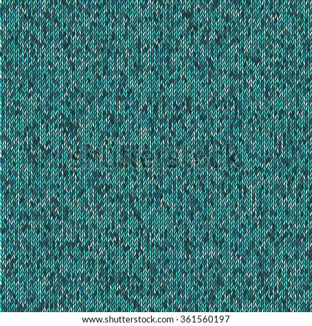Christmas Sweater Design. Seamless teal Knitting Pattern. Vector illustration EPS10 - stock vector