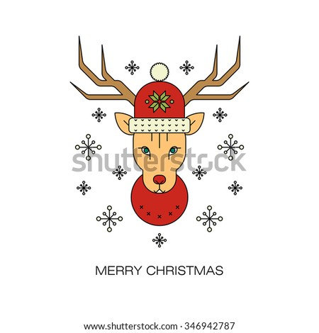 Christmas symbols deer in modern style vector line. Design for the decoration of a festive corporate products, stickers, banners. - stock vector