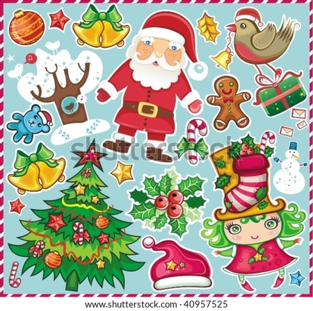 Christmas symbols set! - stock vector