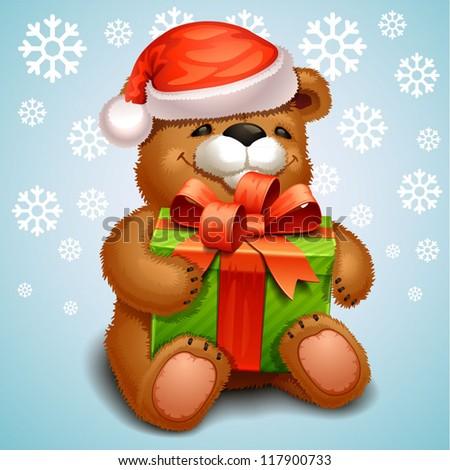christmas teddy bear - stock vector