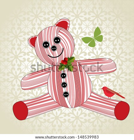 Christmas teddy bear toy  background pattern - stock vector