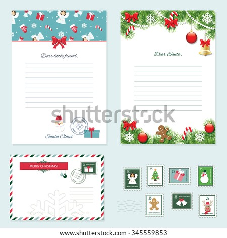 Christmas templates set. Letter from Santa Claus, Letter to Santa, envelope, postage stamps. Pattern with angels added in swatches. - stock vector