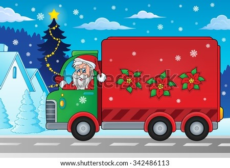 Christmas theme delivery car image 2 - eps10 vector illustration. - stock vector