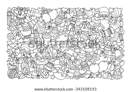 Christmas theme. Doodle background with balloon, bells, sweets, Christmas socks, gift, mittens, envelope, letter, tree, star, candle, bird, snowman, ball, bow, heart and Santa Claus. Ethnic ornaments. - stock vector