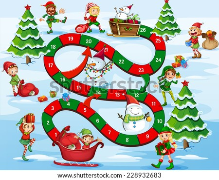 Christmas themed board game with numbers - stock vector