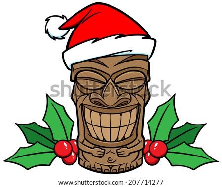 Christmas Tiki - stock vector