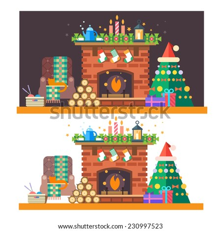 Christmas time. Interior of the house with a fireplace, Christmas tree, gifts, decorations. Vector flat illustrations on white and dark background. - stock vector