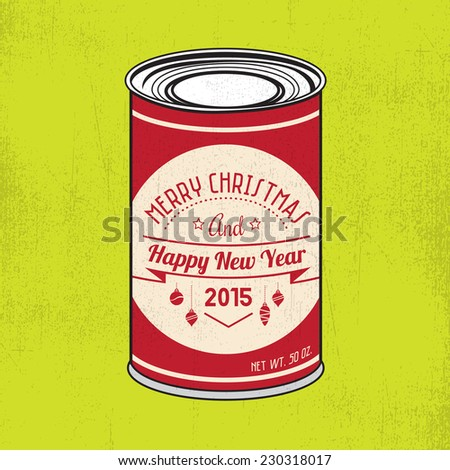 Christmas tin with vintage hipster label and grunge texture - stock vector