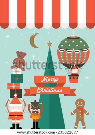 christmas toy shopfront display vector/illustration - stock vector