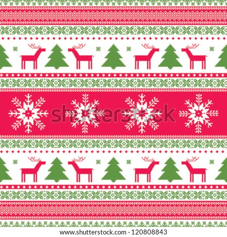 Christmas traditional ornamental knitted pattern - stock vector