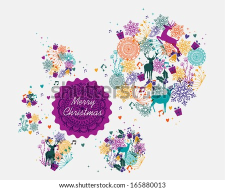 Christmas transparent colors elements and retro label illustration. EPS10 vector file organized in layers for easy editing. - stock vector