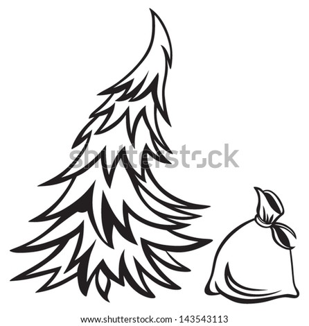 Christmas tree and bag with gifts isolated on white background - stock vector