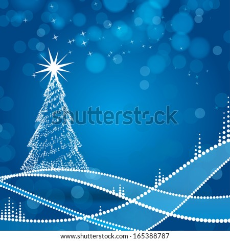 Christmas tree and blue background - stock vector
