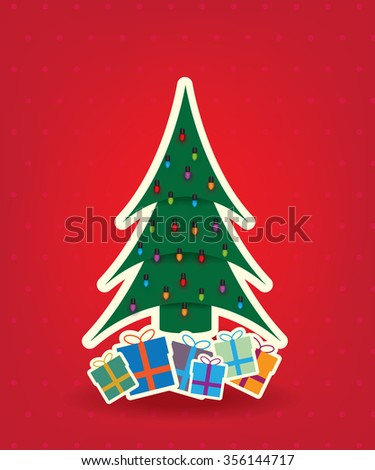 Christmas tree and bulb on red background - stock vector