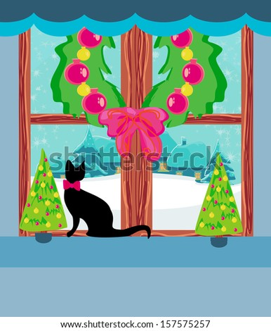 Christmas tree and cat at window  - stock vector