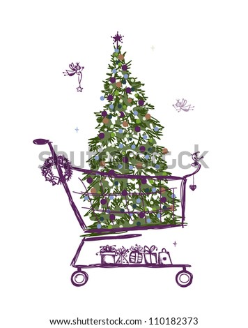 Christmas tree and presents into shopping cart - stock vector