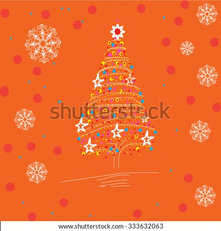 Christmas tree and snowflakes on the orange background - stock vector