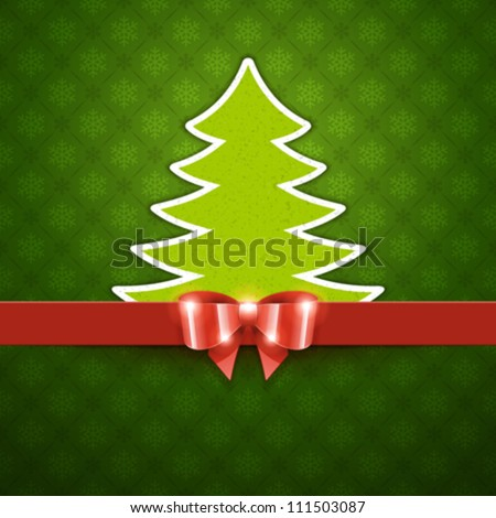 Christmas tree applique and bow vector background - stock vector