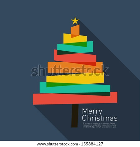 Christmas tree background in flat design style with Merry christmas writing - stock vector