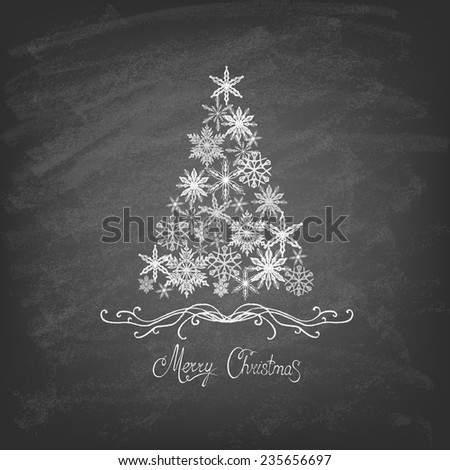 Christmas Tree Background with Snowflakes , Trendy Design Template on the blackboard. Vector illustration.  - stock vector