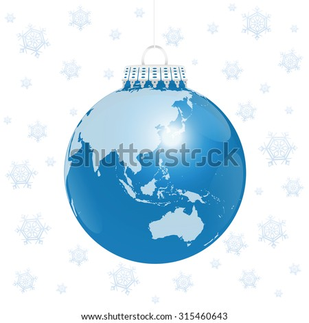 Christmas tree ball - blue planet earth - asian and australian continents - with snow flakes background. Isolated vector illustration on white background. - stock vector