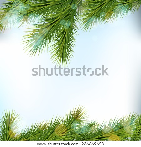 Christmas tree borders, isolated on light background. Vector Illustration - stock vector