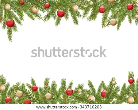 Christmas Tree Borders with red and gold decoration, Vector Illustration - stock vector