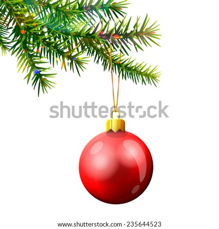 Christmas tree branch with bauble isolated on white. Red christmas ball hanging on pine twig. Vector illustration for christmas, new year's day, winter holiday, design, new year's eve, silvester, etc - stock vector