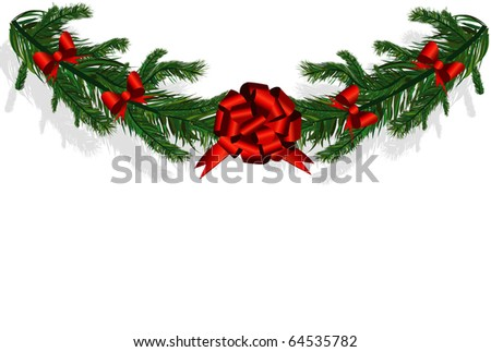christmas tree branches - stock vector