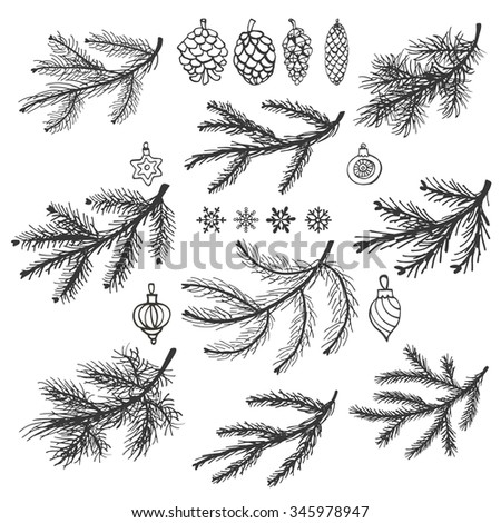 Christmas  tree branches black silhouette,pine cones,balls,snowflakes.Spruce,fir isolated decor elements.For invitations cards design template.New year holiday vector,nature  illustration,Winter. - stock vector