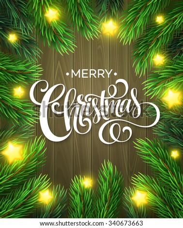 Christmas Tree Branches Border. Vector Illustration EPS10 - stock vector