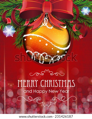 Christmas tree branches with bauble, bow and ribbons on red background - stock vector