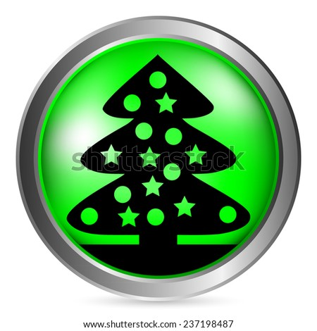 Christmas Tree button on white background. Vector illustration. - stock vector