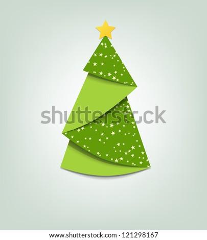 Christmas tree card. Vector origami - stock vector