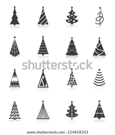 Christmas tree celebration holiday black silhouette icons set isolated vector illustration - stock vector