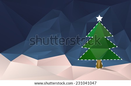 Christmas Tree Cut Out Card. Abstract christmas background with tree in the snow. - stock vector