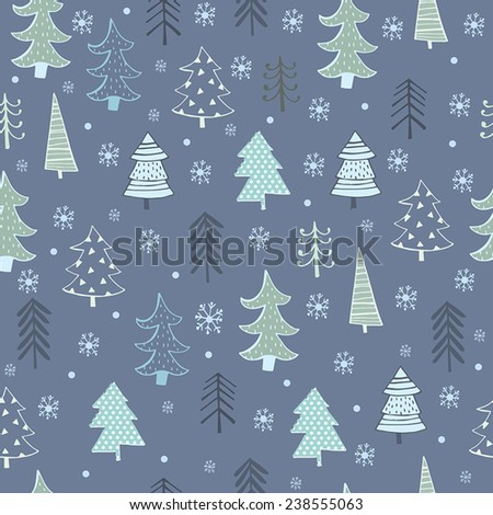 Christmas tree. Cute pattern design.  - stock vector