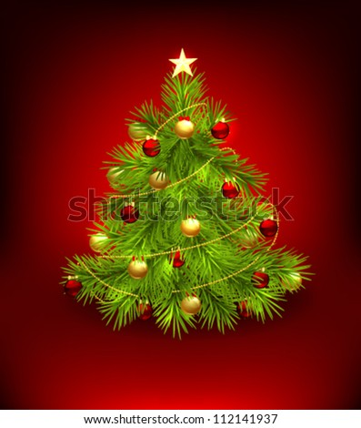 Christmas tree decorated with baubles and star - stock vector