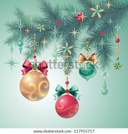 christmas tree decoration - stock vector