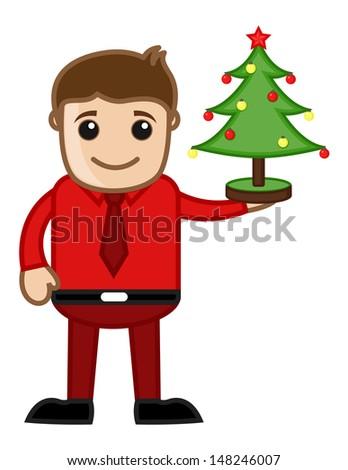 Christmas Tree Decoration - Business Cartoon Characters - stock vector