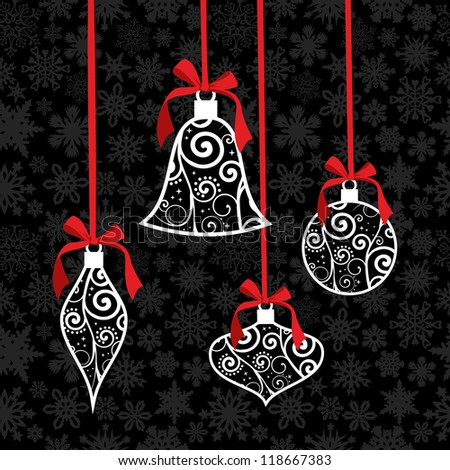 Christmas tree decoration over snowflake seamless pattern. Vector illustration layered for easy manipulation and custom coloring. - stock vector