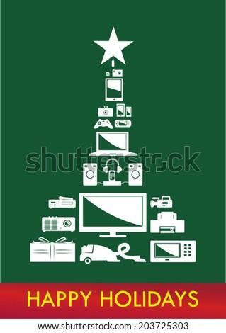 Christmas Tree Electronics Vector. Reversed on dark green. - stock vector