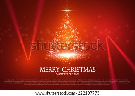 Christmas tree from light & spotlight. Vector illustration - stock vector