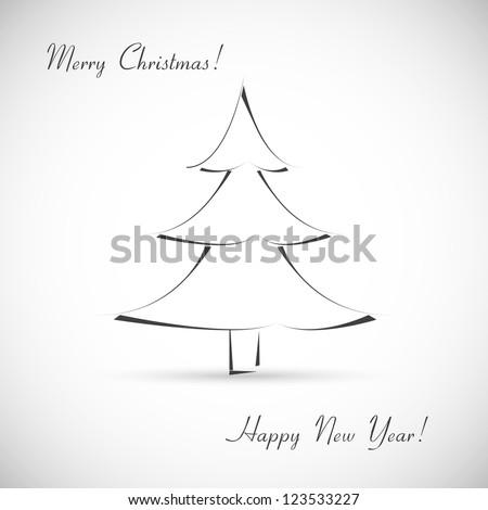 Christmas tree. Greeting card - stock vector