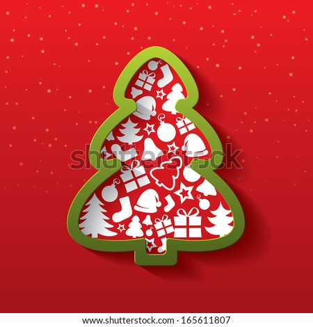 Christmas tree greeting card. Christmas tree of flat icons. Happy New Year. Vector illustration. - stock vector