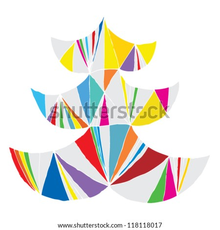 Christmas Tree Greeting Card ... Grunge abstract illustration of christmas tree in modernistic manner (pop art colors) - stock vector