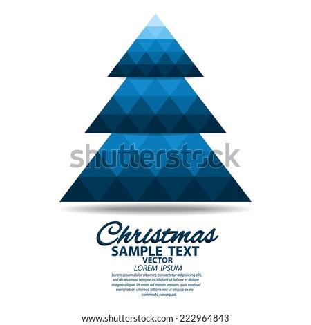 Christmas tree greeting card- polygonal design - stock vector