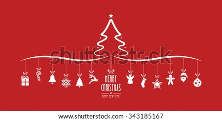 christmas tree hanging decoration elements red background - stock vector