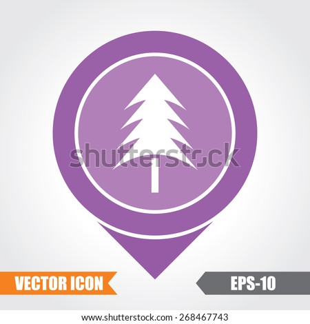 Christmas Tree Icon On Map Pointer. Eps.-10. - stock vector